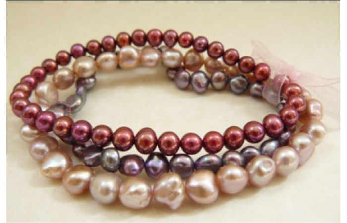 Pinks and Purple Pearl Elastic Bracelets x 3