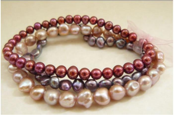Pinks and Purple Pearl Elastic Bracelets x 3