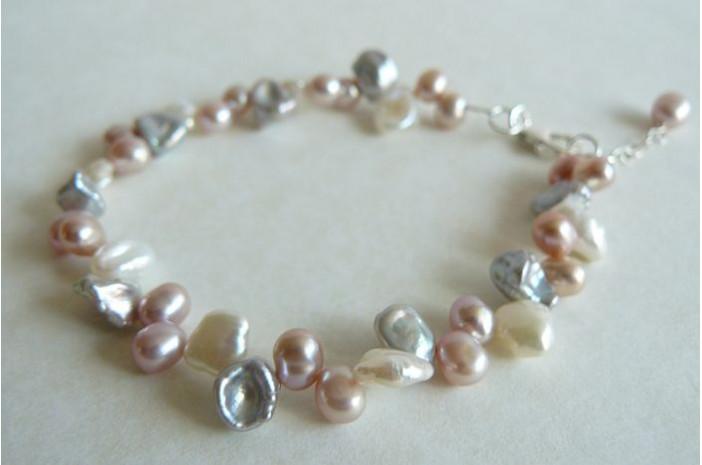 Pink Cream & Silver Keshi Pearl Bracelet