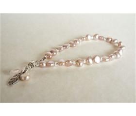 Pink Irregular Pearl Bracelet & Silver Leaf Charm