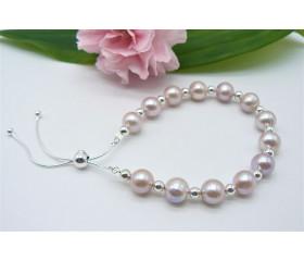 Pink Medium Pearl & Sterling Silver Bead Slider Adjustable Clasp Bracelet