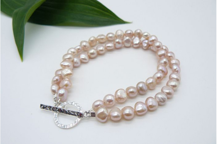 Pink Pearl & Hammered Toggle Clasp Two Strand Bracelet