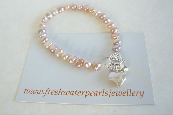 2efa2b757f2c1 Pink Small Baroque Nugget Pearl Bracelet and Pearl Heart Drop