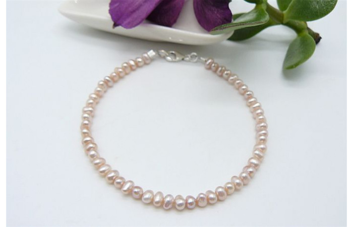 Pink Smallest Round Pearl Bracelet