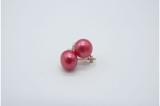 Hot Pink Pearl Stud Earring - Medium