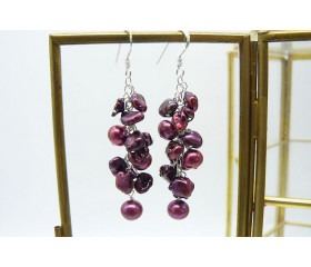 Mulberry Keshi & Pink Pearl Drop Earrings