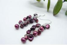 Mulberry Keshi & Pink Pearl Drop Earrings