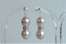 Pink Pearl & Crystal Rondel Stud Drop Earrings