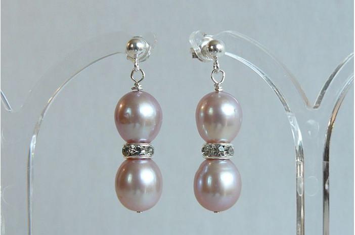 Pink Pearl & Crystal Rondel Stud Drop Earrings