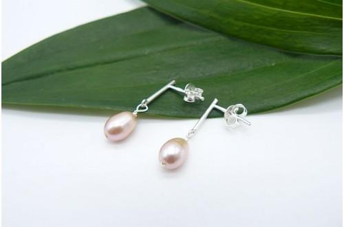 Pink Pearl Bar Drop Earrings