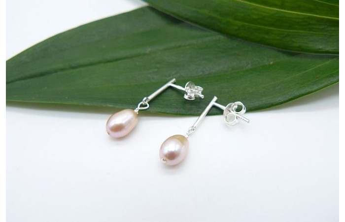 Pink Pearl Bar Drop Earrings