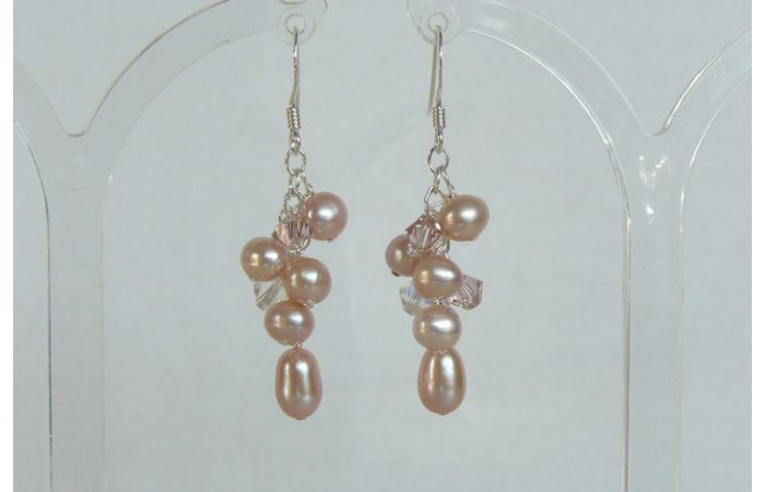 Pink Small Cluster Drop Earrings