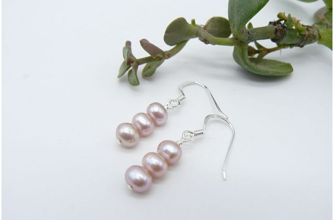 Pink Small Round Pearl Drop Earrings