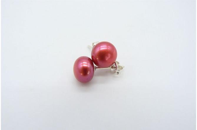Hot Pink Pearl Stud Earring - Medium