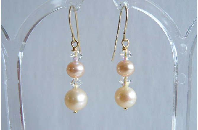Natural Peach Pearl & Crystal Drop Earring