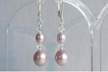 Pink Pearl & Crystal Drop Earrings