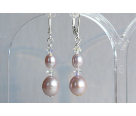 Pink Pearl & Crystal Drop Earrings