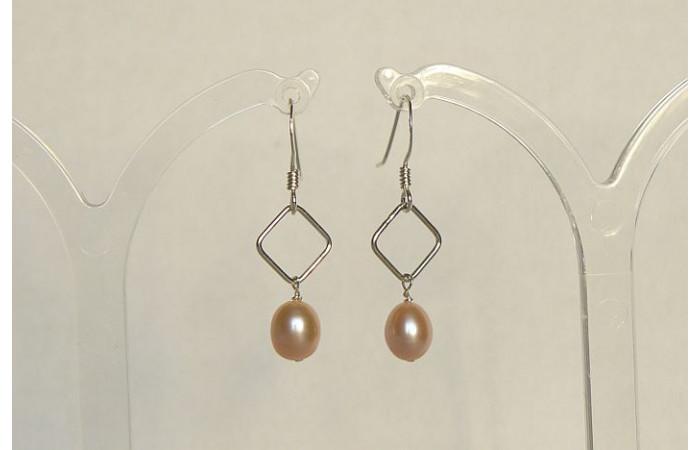 Pink Pearl on Silver Diamond Drop Earrings