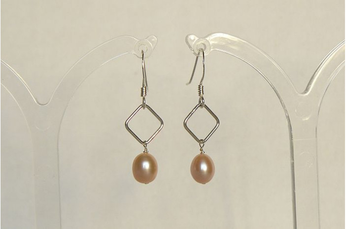 Pink Pearl on Silver Diamond Drop Earrings