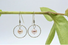 Pink Pearl Facetted Ring Drop Earrings