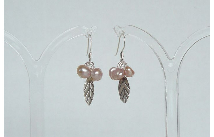 Pink Pearl & Silver Leaf Drop Earrings