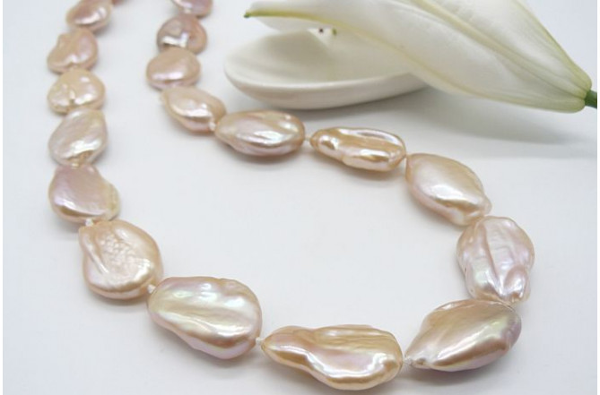 Pink/Peach Large Baroque Pearl Necklace