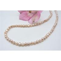 Peach Small Baroque Nugget Pearl Necklace