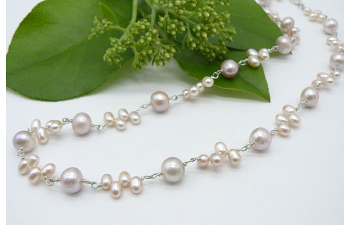 Pink Pearl Silver Linked Necklace