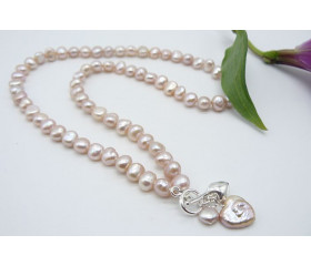 Pink Small Baroque Pearl Heart Drop Necklace