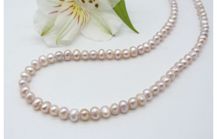 Pink Small Round Pearl Necklace