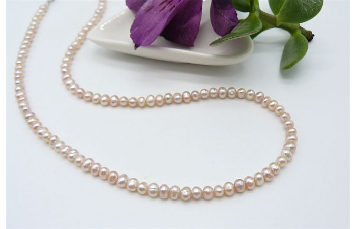 Pink Smallest Round Pearl Necklace