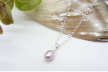 Children's Pink Pearl Pendant Necklace on Small Gold or Silver Chain