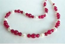 White Pearl & Fuchsia Jade Necklace