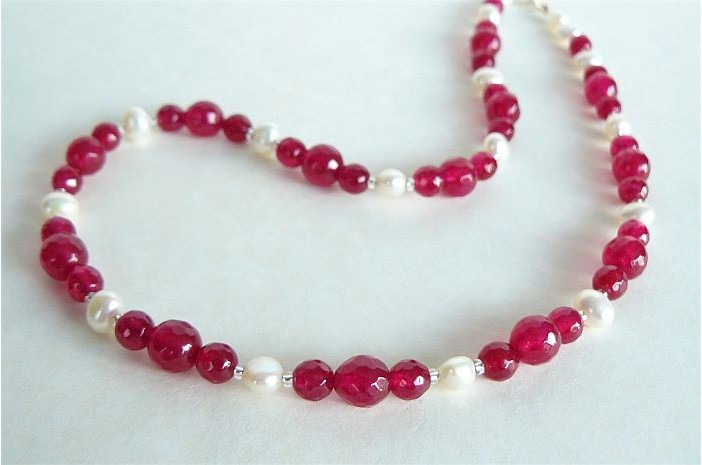 White Pearl & Fuchsia Jade Necklace