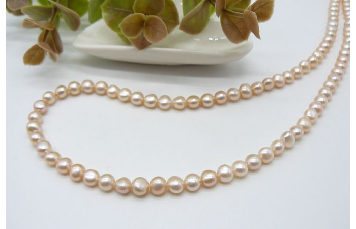 Peachy/Pink Small Baroque Nugget Pearl Necklace
