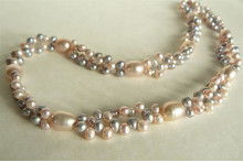 Pink & Silver Pearl Head-Drill Double Strand Necklace