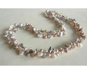 Pink Cream & Silver Keshi Pearl Twisted Necklace