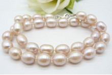 Pink Large Oval Pearl Necklace