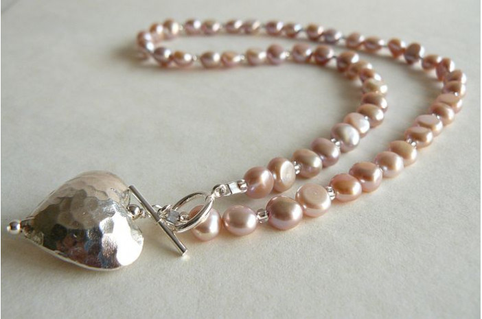Pink Pearl & Silver Hammered Heart Necklace
