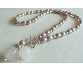 Pink Oval Pearl & Rose Quartz Drops