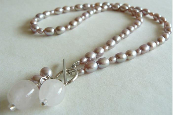Pink Oval Pearl & Rose Quartz Drops
