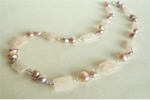 Pink Pearls and Rose Quartz Rectangles Necklace