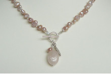 Pink Pearl Necklace & Silver Leaf Drop