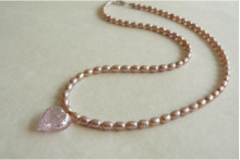 Pink Pearls & Small Pink Heart Necklace