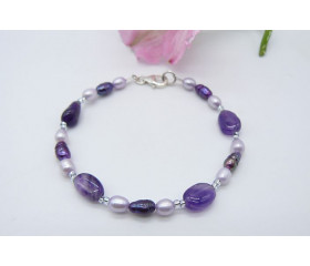 Amethyst, Purple & Lilac Freshwater Pearl Bracelet
