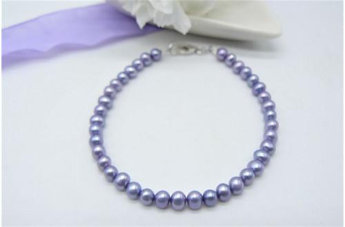 Children's Light Purple Smallest Round Pearl Bracelet