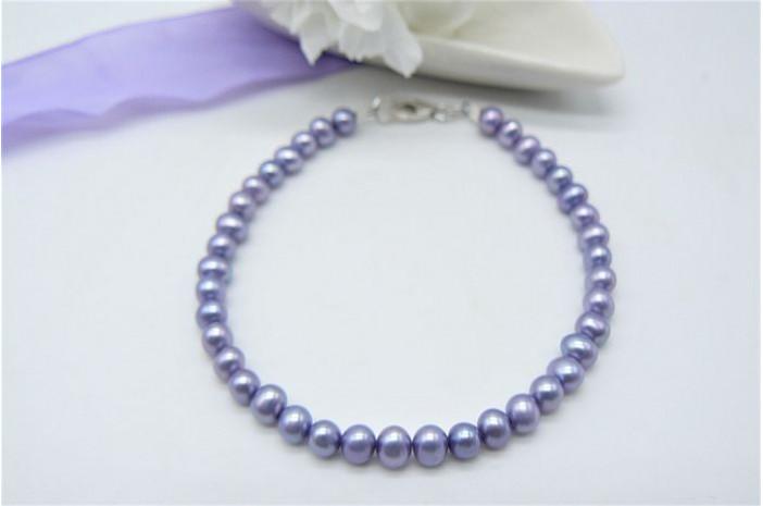Light Purple Smallest Round Pearl Bracelet