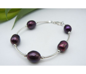 Mulberry Large Oval Pearl & Silver Bead Bangle Bracelet