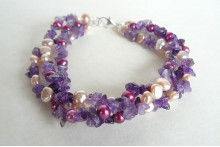Pink Pearls & Amethyst Three Strand Twisted Bracelet