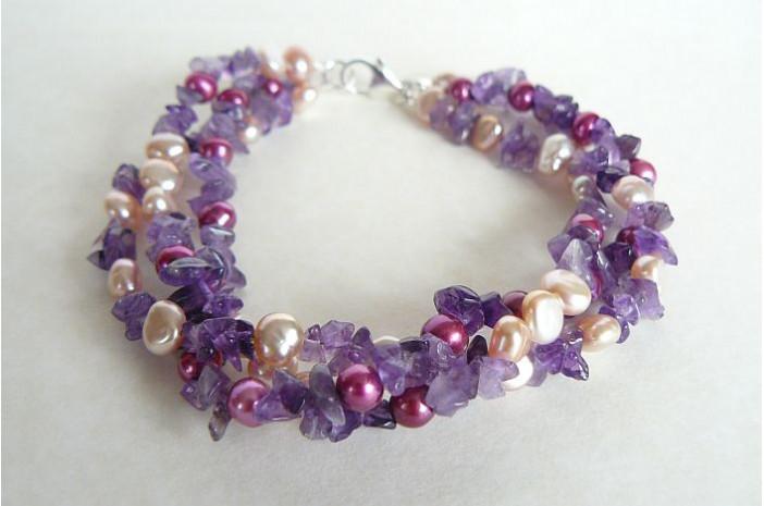 Pink Pearls & Amethyst Three Strand Twisted Bracelet